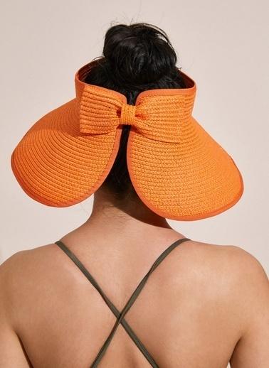 Morhipo Beach Fiyonk Detaylı Hasır Şapka Oranj